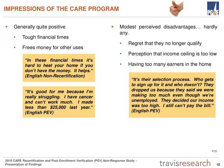 IMPRESSIONS OF THE CARE PROGRAM
