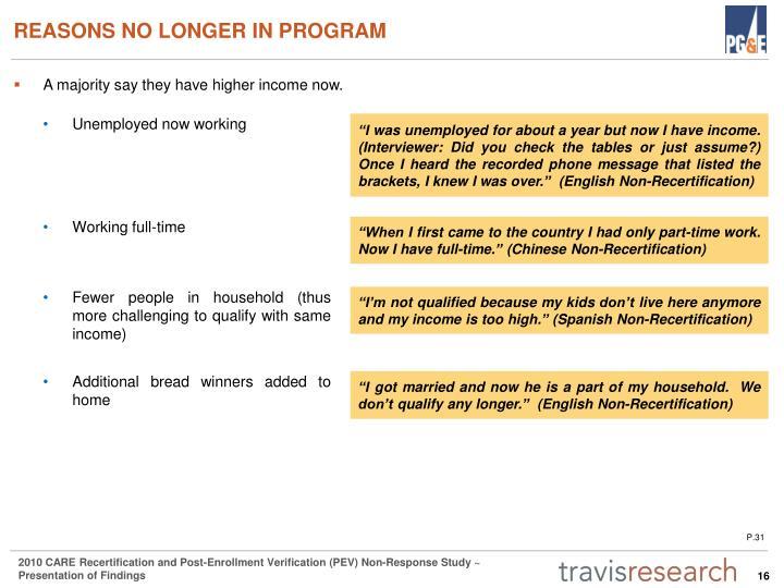 REASONS NO LONGER IN PROGRAM
