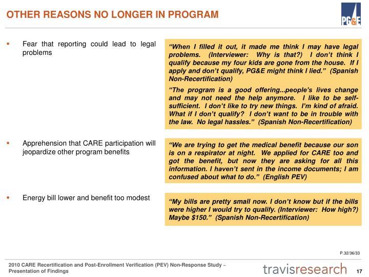 OTHER REASONS NO LONGER IN PROGRAM