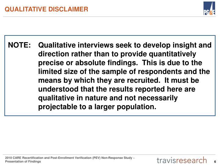 QUALITATIVE DISCLAIMER