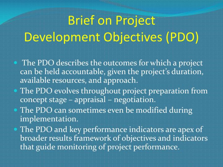 brief on project development objectives pdo n.