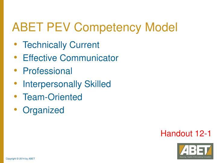 ABET PEV Competency Model