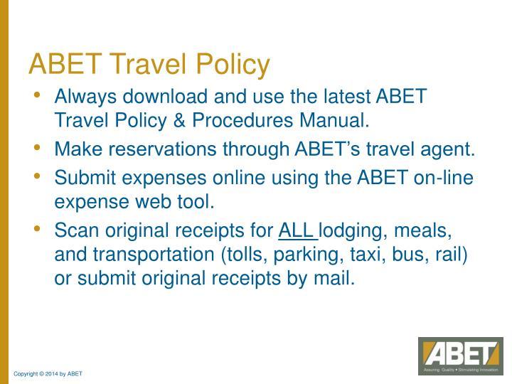 ABET Travel Policy