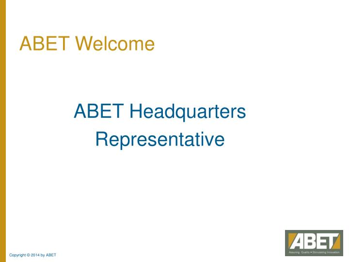 Abet welcome