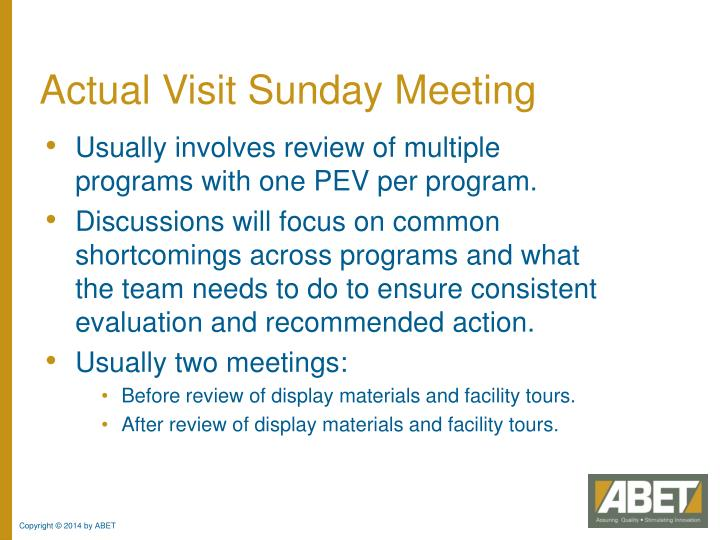 Actual Visit Sunday Meeting