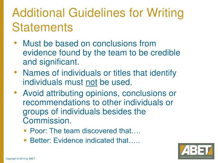 Additional Guidelines for Writing Statements