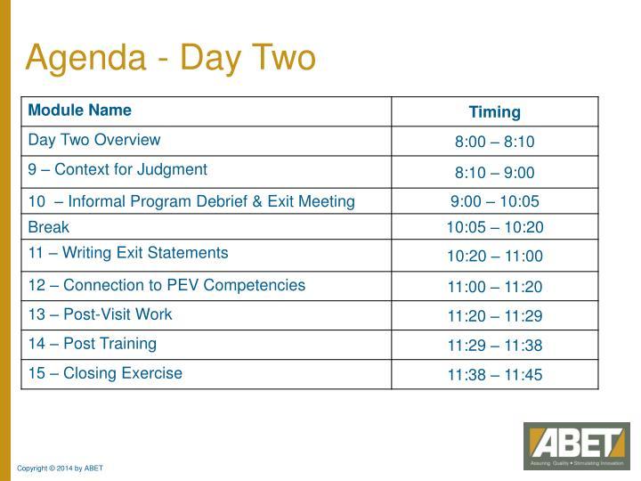Agenda - Day Two