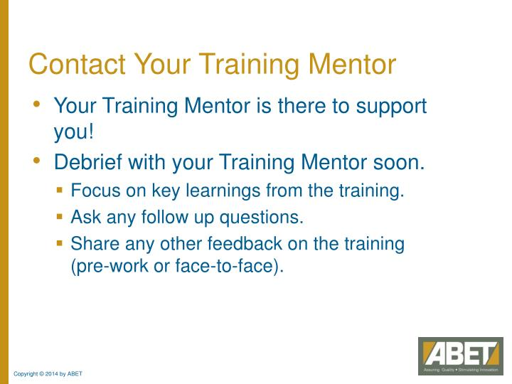 Contact Your Training Mentor