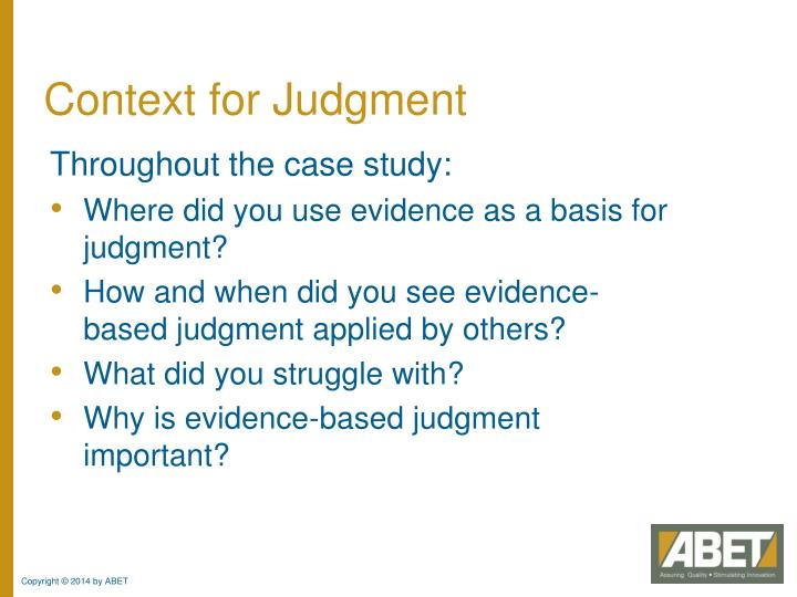 Context for Judgment