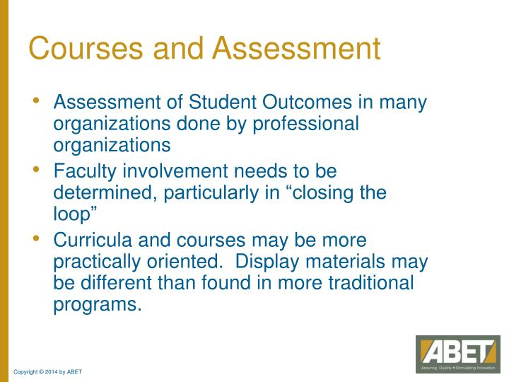 Courses and Assessment