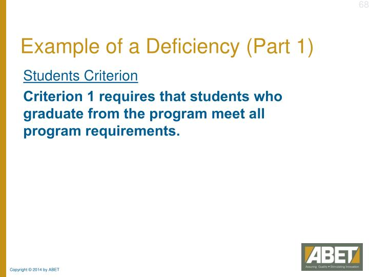 Example of a Deficiency (Part 1)