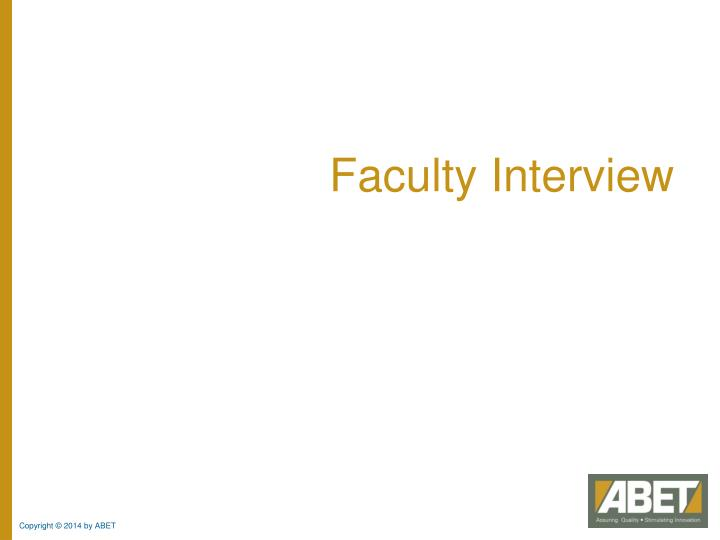 Faculty Interview