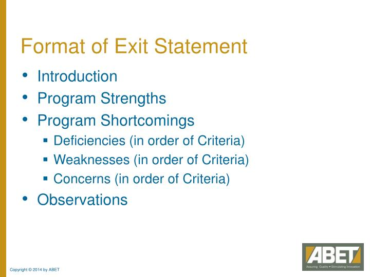 Format of Exit Statement