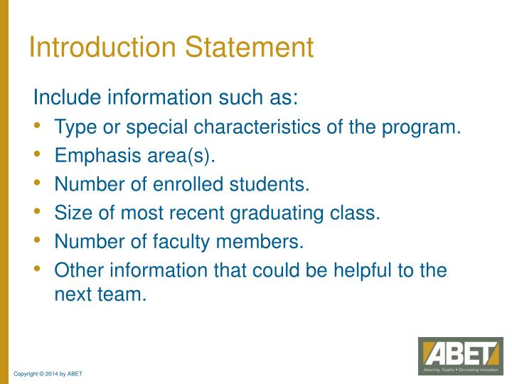 Introduction Statement