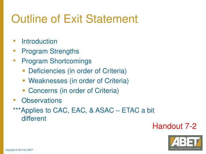 Outline of Exit Statement