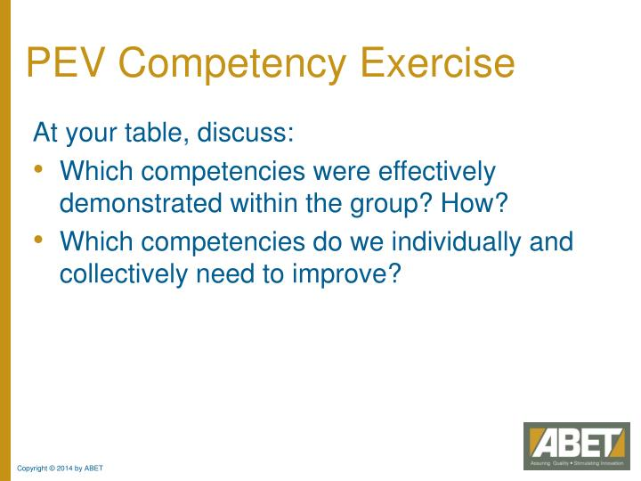 PEV Competency Exercise