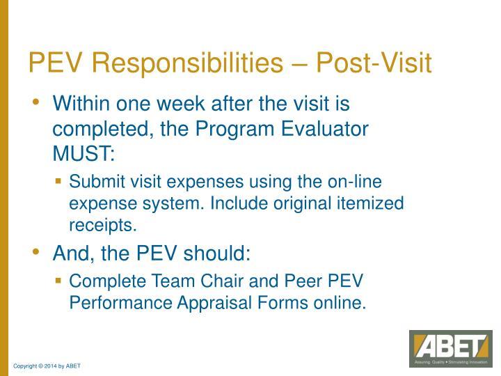 PEV Responsibilities – Post-Visit