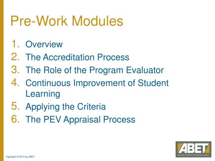 Pre-Work Modules