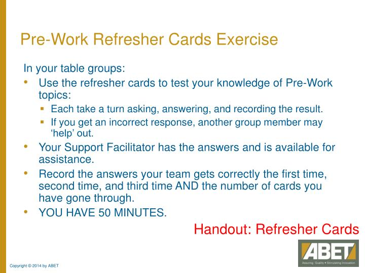 Pre-Work Refresher Cards Exercise
