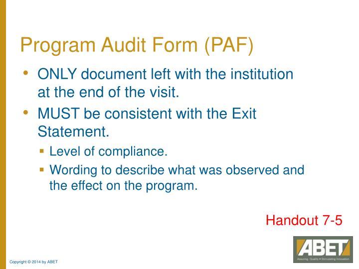 Program Audit Form (PAF)