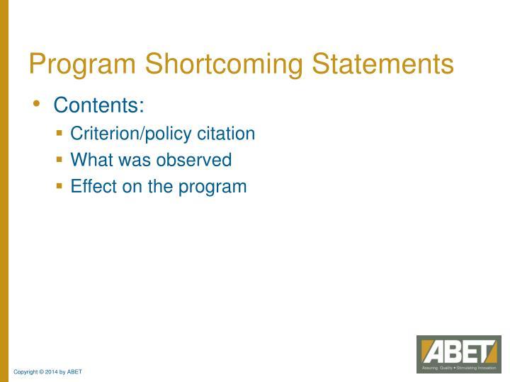 Program Shortcoming Statements
