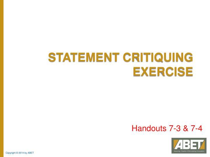 Statement Critiquing Exercise