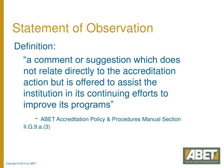 Statement of Observation