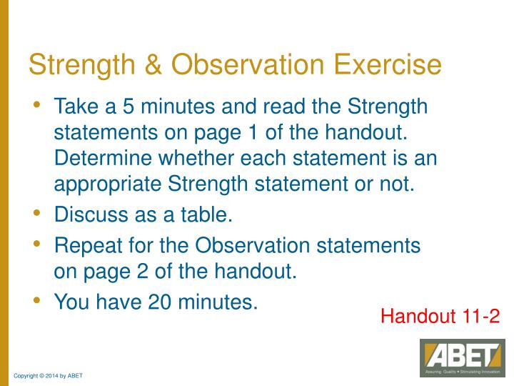 Strength & Observation Exercise