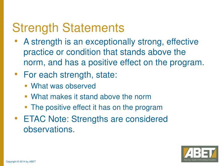 Strength Statements