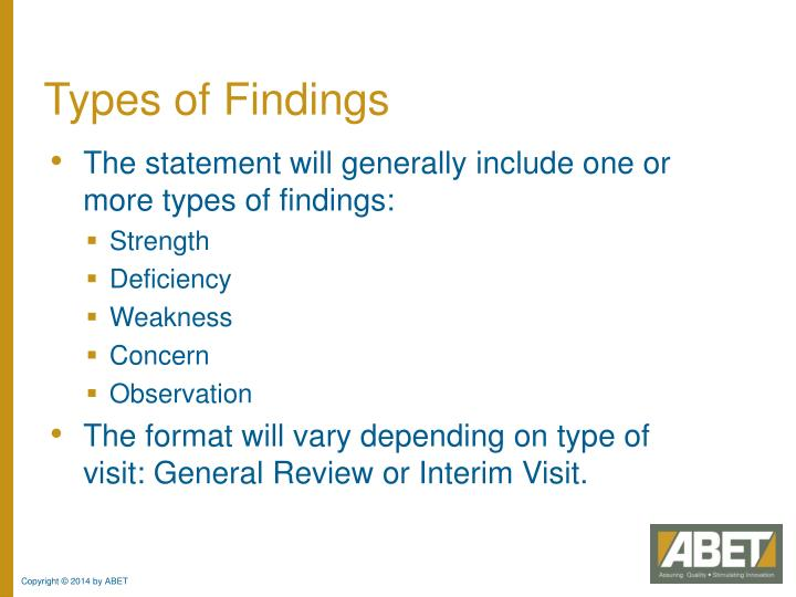 Types of Findings