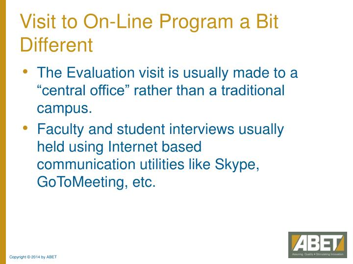 Visit to On-Line Program a Bit Different