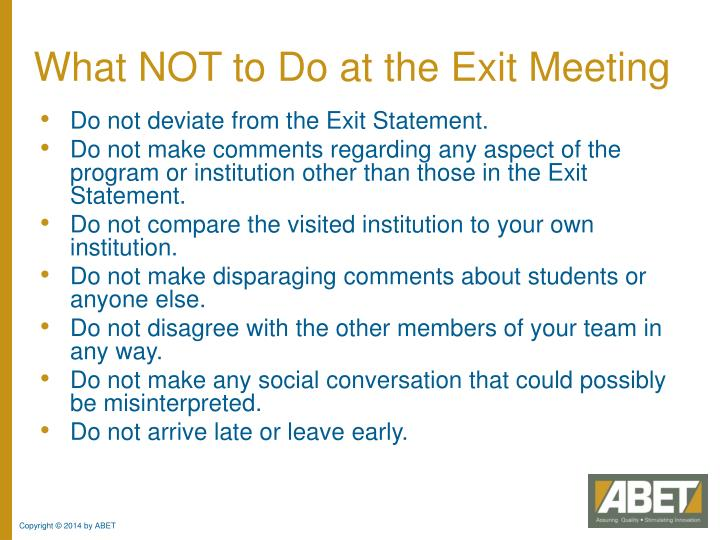 What NOT to Do at the Exit Meeting