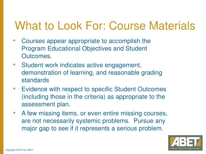What to Look For: Course Materials