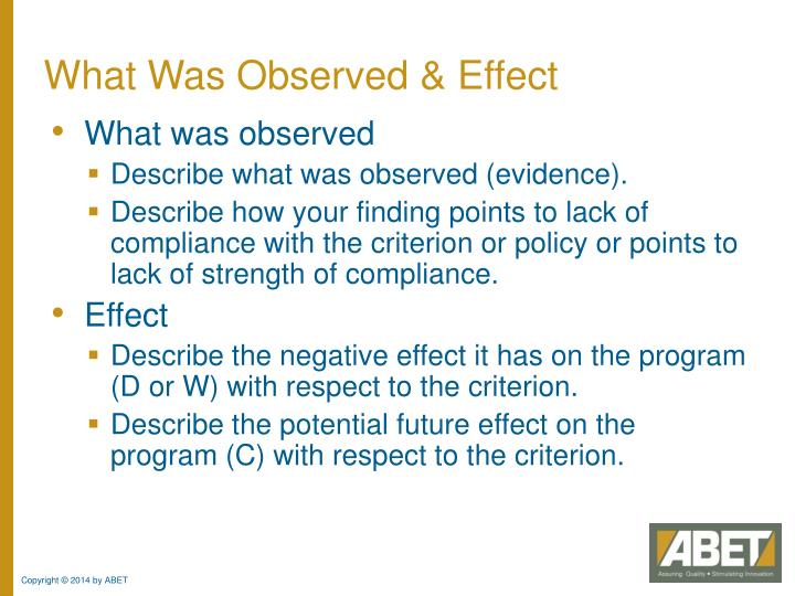 What Was Observed & Effect