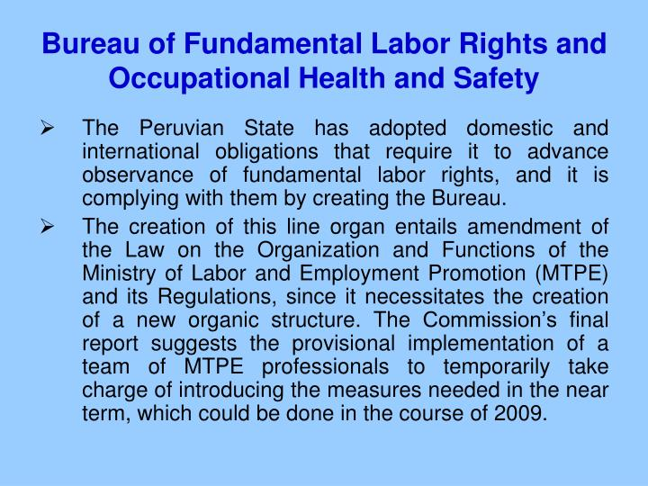 Bureau of Fundamental Labor Rights and Occupational Health and Safety
