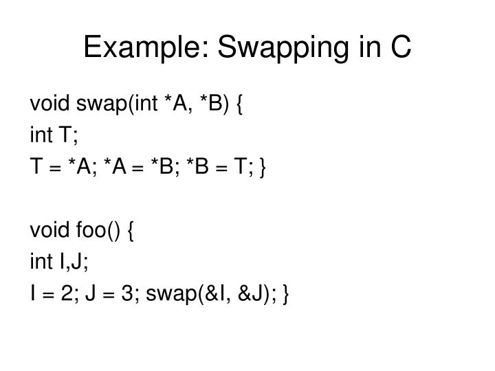 Example: Swapping in C