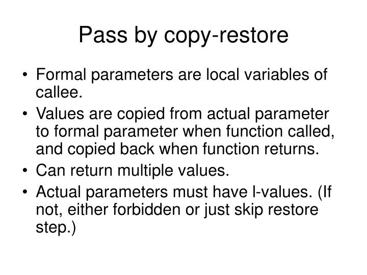 Pass by copy-restore