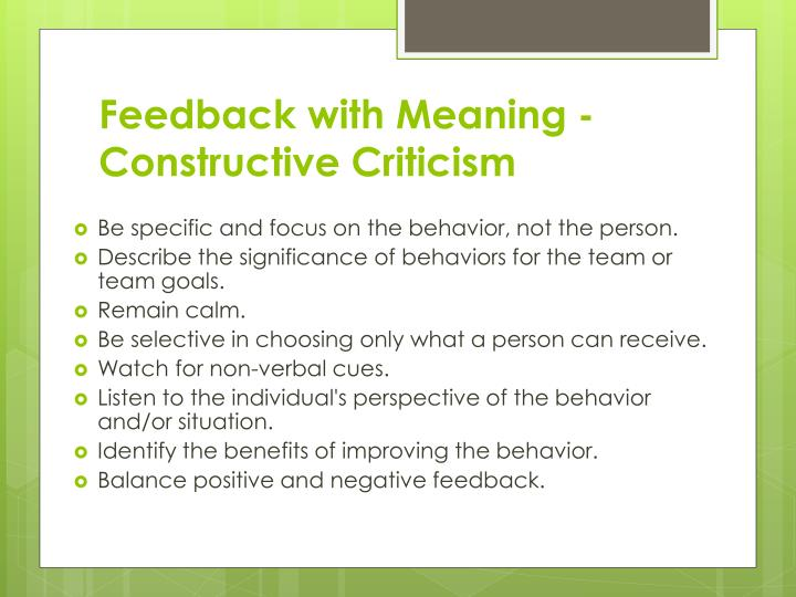 Feedback with Meaning - Constructive Criticism
