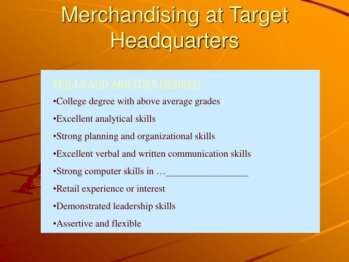 Merchandising at Target Headquarters