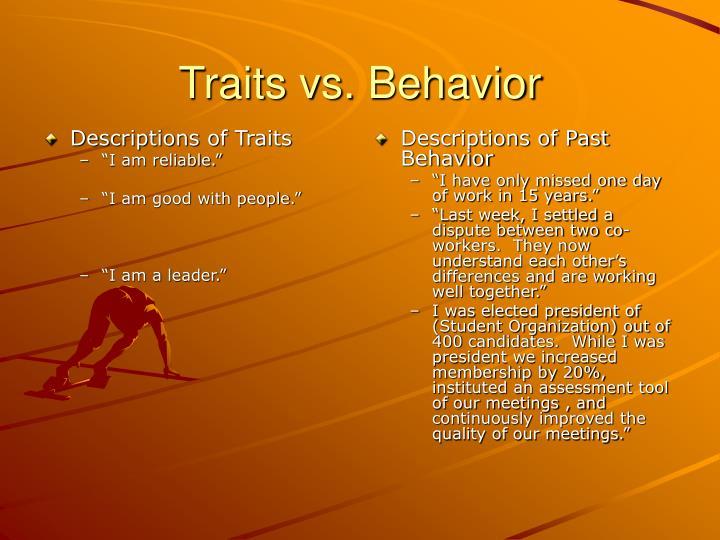 Descriptions of Traits