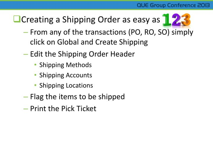 Creating a Shipping Order as easy as