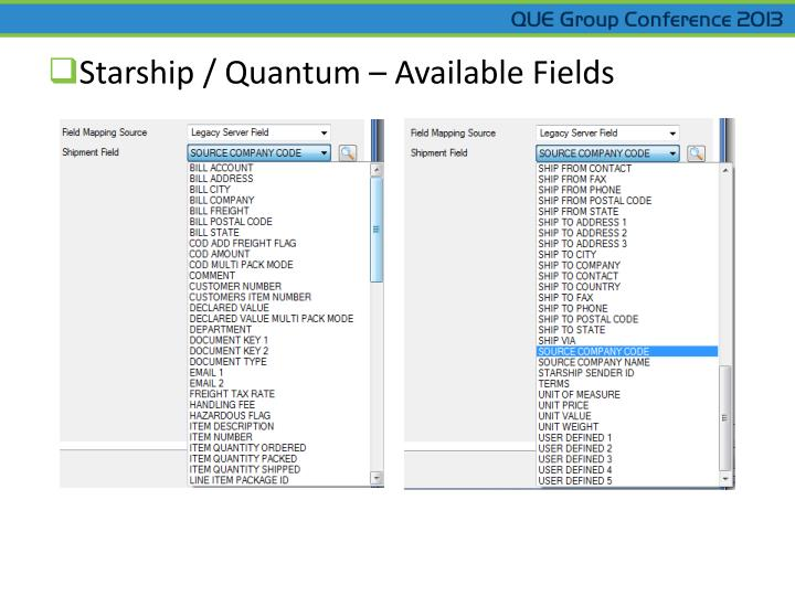 Starship / Quantum – Available Fields
