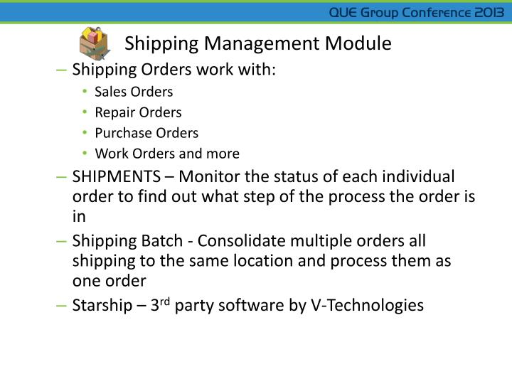 Shipping Management Module