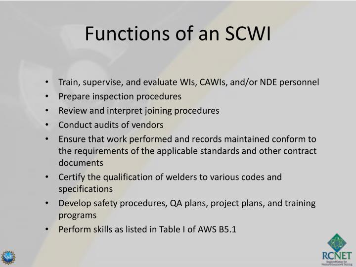 Functions of an SCWI