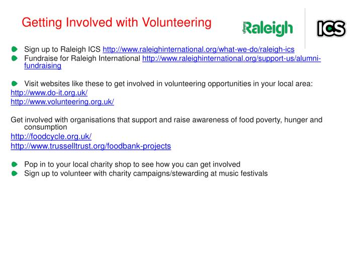 Getting Involved with Volunteering