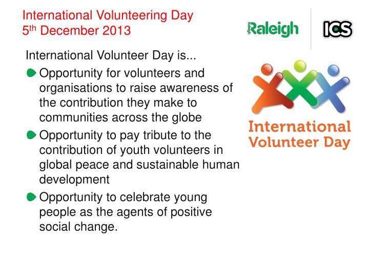International volunteering day 5 th december 2013