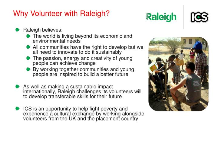 Why Volunteer with Raleigh?