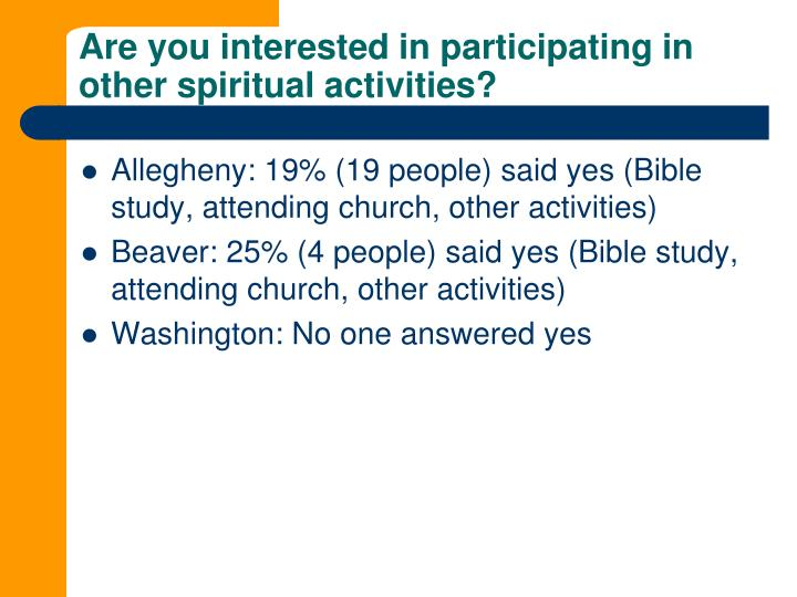 Are you interested in participating in other spiritual activities?