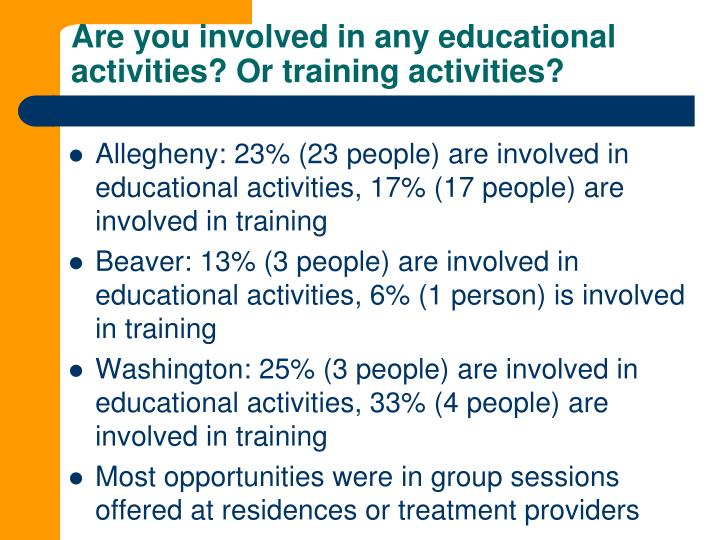 Are you involved in any educational activities? Or training activities?