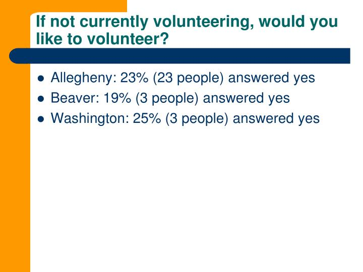 If not currently volunteering, would you like to volunteer?